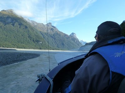 I managed to get the seat directly behind the driver/pilot as we sped down the Dart River from Paradise to Glenorchy