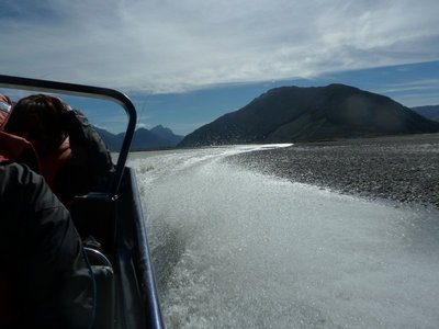 The spray behind our jet boat as we speed down the Dart River to Glenorchy on Lake Watatipu