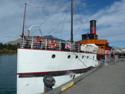 TSS Earnslaw berthed at its wharf on Queenstown Bay