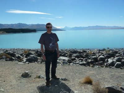 Me with Mount Cook behind me at Lake Pukaki