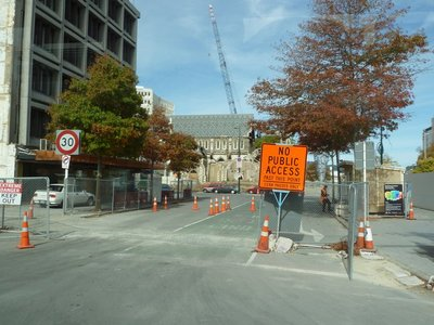 Cathedral Square is still out-of-bounds to traffic