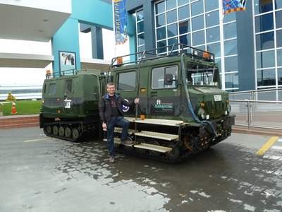 Me beside the Hagglund I had a ride in at the International Antarctic Centre