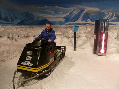 Me on a snow bike waiting for the storm to begin in the Storm Room at the Antarctic Centre