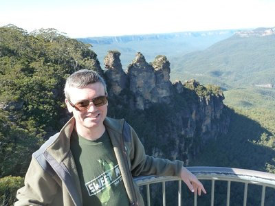 Me by the Three Sisters Rock Formation at the Echo Point Lookout