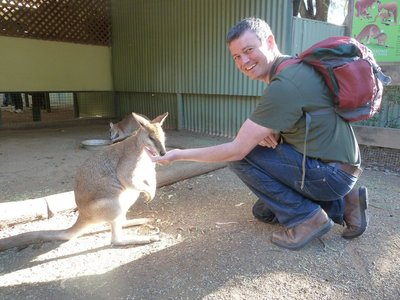 Me with a friendly Swamp Wallaby at Featherdale Wildlife Park