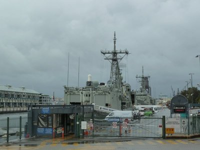 HMAS Newcastle and HMAS Sydney moored up at the Naval Base on Woolloomooloo Bay