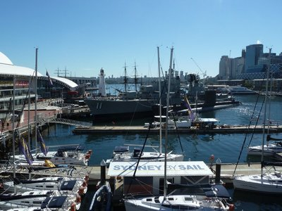 Darling Harbour and the fleet of historical ships of the National Maritime Museum from the Pyrmont Bridge