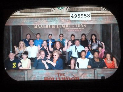 Hollywood Tower Hotel plunging elevator pic - I'm 2nd from the left on the back row