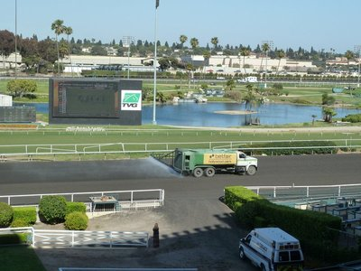Watering the track between races at Hollywood Park