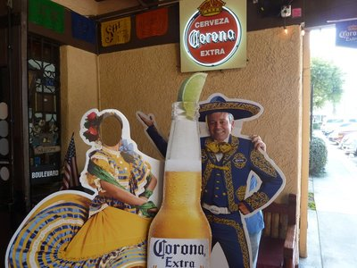 Me posing behind a cut-out at a Mexican Restaurant