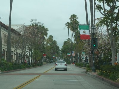 Driving down State Street, the main street in Santa Barbara