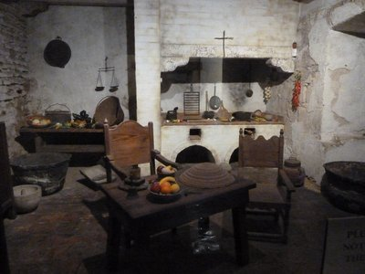 Recreation of a typical Mission Kitchen from the time the Mission was founded