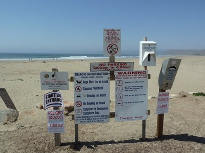 Sign on the beach at Morro Bay
