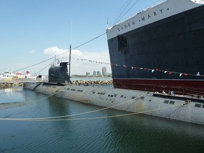The Soviet b-427 Scorpion Submarine alongside the RMS Queen Mary at Long Beach