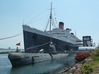 The RMS Queen Mary and Soviet b-427 'Scorpion' Submarine at Long Beach