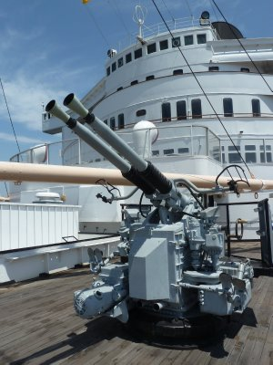 WWII Bofors Gun on the deck of the Queen Mary