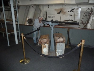 Example of the extra weaponry mounted aboard to protect the Queen Mary during WWII