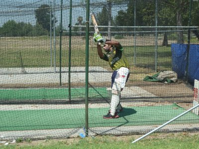 Close up of the batting in the practise nets