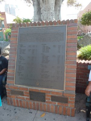 Plaque in the Plaza listing the names of the original 44 Spanish pobladores (settlers) of Los Angeles