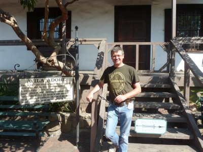Me stood on the steps of the Avila Adobe, the oldest remaining building in LA (circa 1818)
