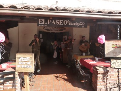 Musicians serenading outside their restaurant in Olvera Street