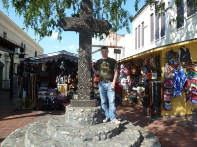 Me stood by the large cross erected at the southern end of Olvera Street