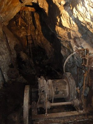 Winch down to the lower levels of the mine