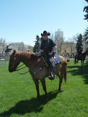 Mounted Policeman in the Civic Center Park in front of the State Capitol Denver