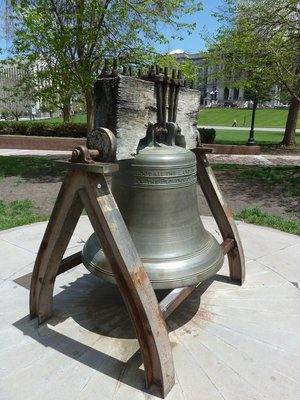 A copy of the Liberty Bell in Lincoln Park outside the State Capitol Denver