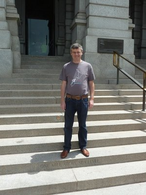Me stood on the 'One Mile above Sea Level' step leading up into the State Capitol in Denver