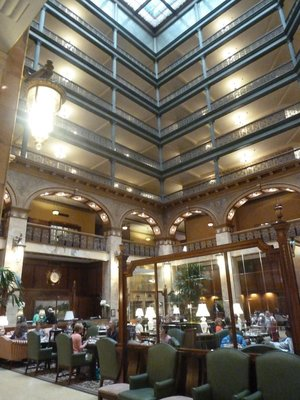 The eight story atrium lobby inside the Brown Palace Hotel