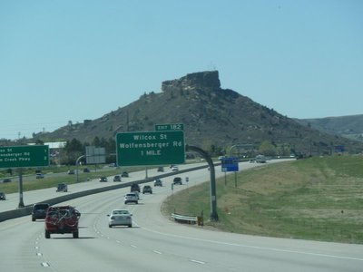 Castle Rock Butte beside the I25 Freeway to Colorado Springs