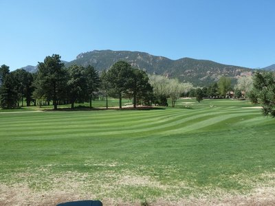 A view across one of the golf courses at the Broadmoor Hotel