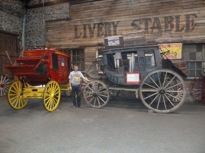 Me by the Stage Coaches inside the Ghost Town Museum in Colorado Springs