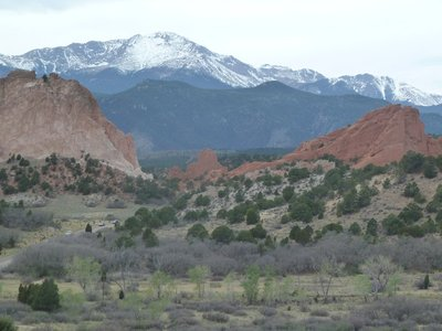 The Garden of the Gods 'Gateway' Rocks with snow capped Pikes Peak in the distance