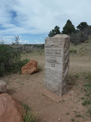 Stone marking the Indian Trail to Ute Pass just north of Pikes Peak