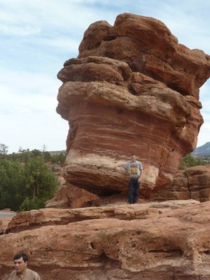 Me stood by the 'Balanced Rock' at the Garden of the Gods