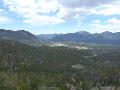 The view across Upper Beaver Meadows and Moraine Park back towards Estes Park