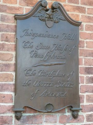 Plaque commemorating Independence Hall as 'The Birthplace of the United States of America'