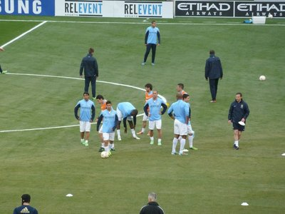 Close up of the City players warming up