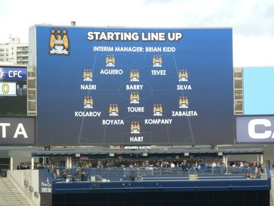 The Manchester City line-up for the first half on the Scoreboard