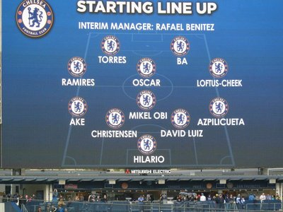 The Chelsea line-up for the first half on the Scoreboard