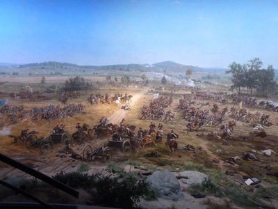 Cyclorama - looking south with General Hancock directing the Union defence of Cemetery Ridge