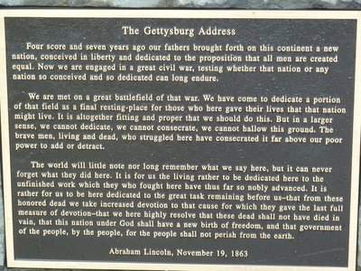 A plaque with the words of Lincoln's famous Gettysburg Address