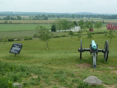 Canon on Oak Ridge looking south east towards Gettysburg