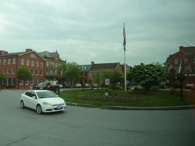 The town square in Gettysburg, the red brick building on the left (known as David Wills House) is where Abraham Lincoln stayed the night before he made his Gettysburg Address