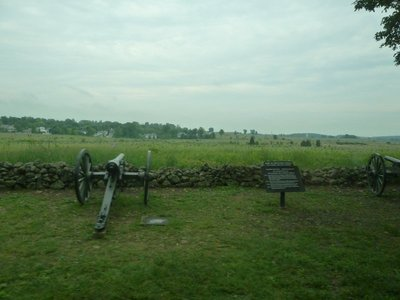 Canon along West Confederate Avenue pointing at the Union positions on the other side of the battlefield