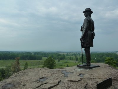 General Warren's statue on Little Round Top - one of the most visited spots on the battlefield