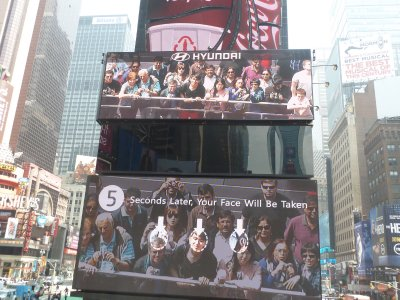The interactive Hyundai Billboard on the north end of Times Square - I'm on the left