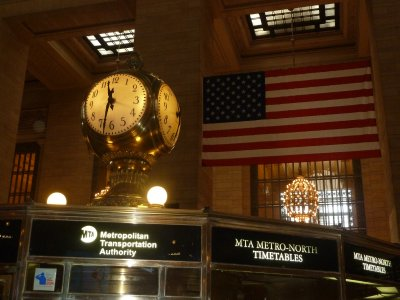 The four faced clock above the information booth in the Main Concourse of the Grand Central Terminal